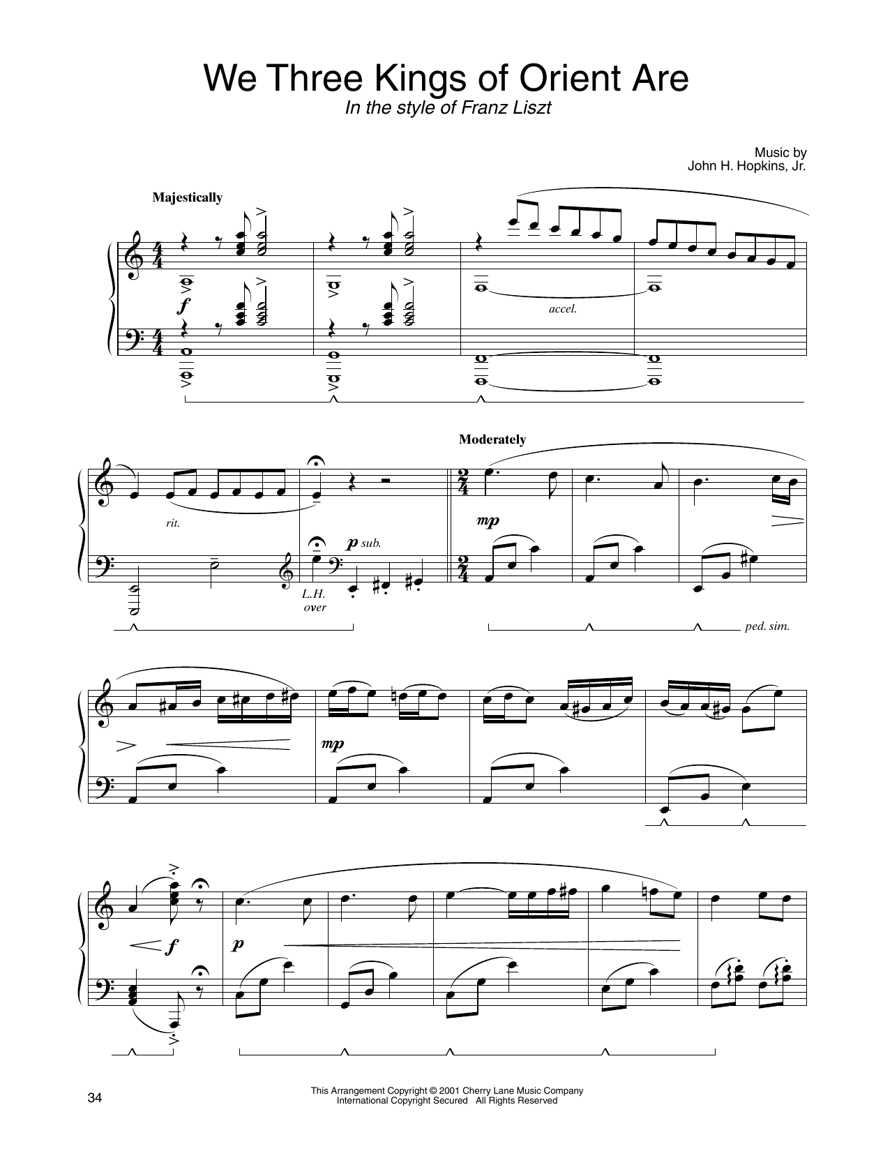John H Hopkins Jr We Three Kings Of Orient Are In The Style Of Franz Liszt Arr Carol Klose Sheet Music Notes Chords Sheet Music Notes We Three Kings Solo Music