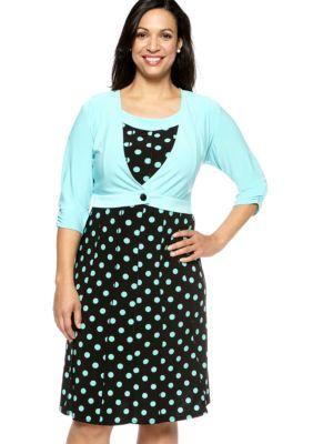 Perceptions  Plus Size Polka-Dot Jacket Dress
