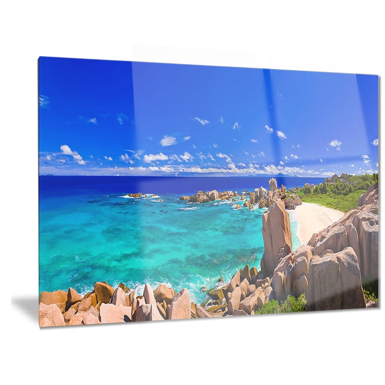 Designart utropical beach panoramau seascape photo metal wall art