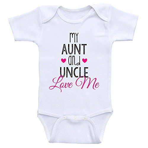 50ed5a2bb Cute Baby One Piece My Aunt And Uncle Love Me Newborn Baby Clothes 6moShort  Sleeve Hot Pink Text