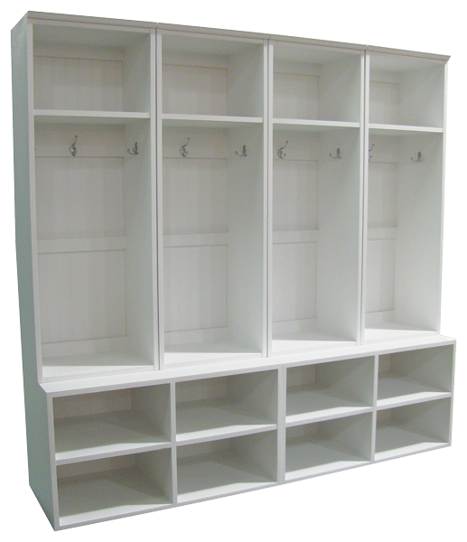 Custom wide lockers on cubby benches i would want to for Open lockers for mudroom