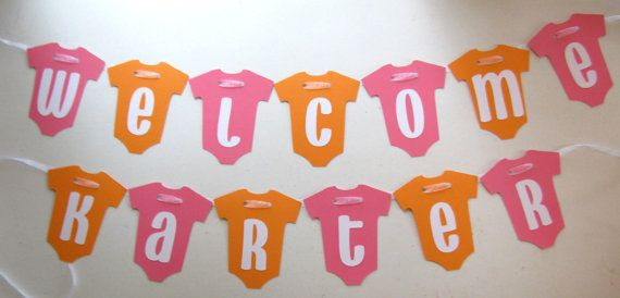 Pink And Orange Baby Onesie Welcome Banner By Banana Lala Party Designs On  Etsy, $15.00