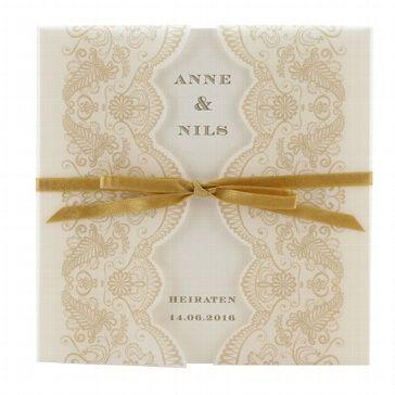 Einladungskarte Sharon Karte Mit Aufgedrucktem Goldenen Spitzenmuster Karte Hochzeit Hochzeitseinladung Hochzeitskarten