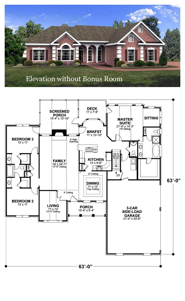 Ranch Style House Plan 92463 With 3 Bed 3 Bath 3 Car Garage Ranch House Plans Ranch Style House Plans House Blueprints