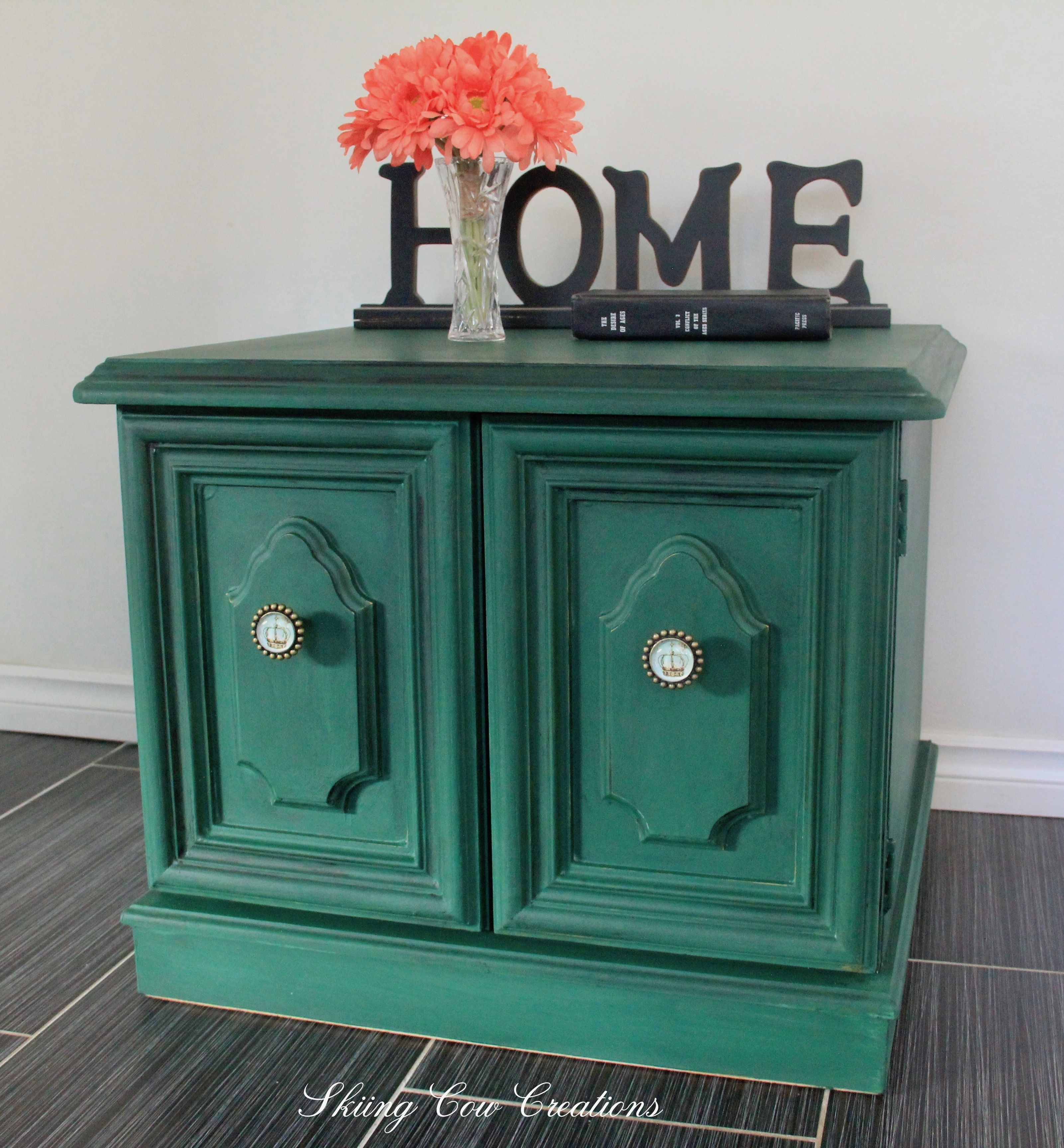 Heavy deep cabinet painted in Annie Sloan Amsterdam Green able to