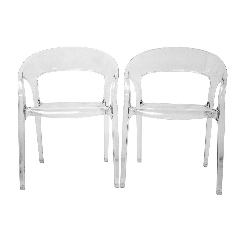 Baxton Studio Chole Acrylic Clear Chair   Set Of 2