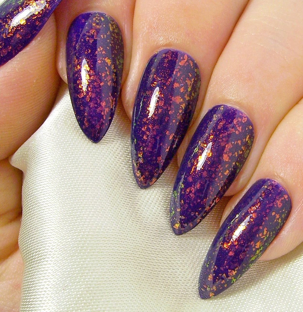 hand painted Fake nails Stiletto Square Colour Shifting Flakies ...