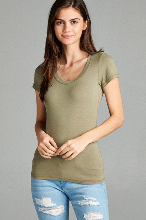 Women Basic Short Sleeve Stretch Scoop Neck Plain Top ...