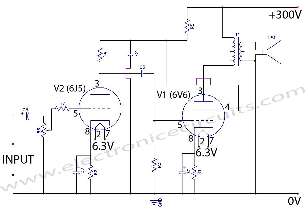 5d9d9fb31a288e909f5df65c7e101d17 6v6 6j5 class a valve (vacuum tube) amplifier circuit wiring Simple Wiring Schematics at fashall.co