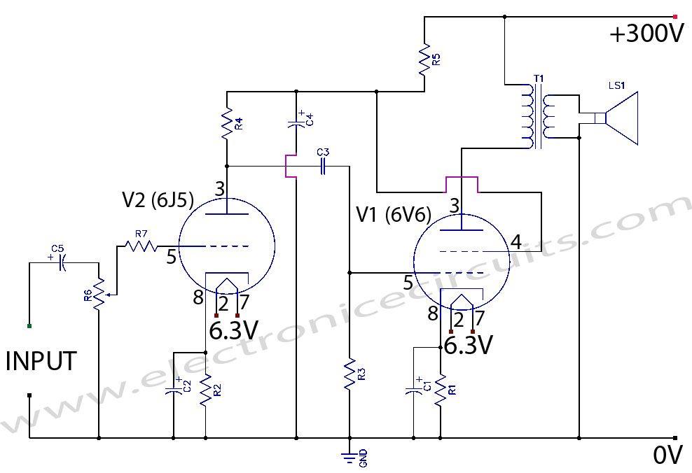 circuit wiring diagrams 1999 ford f350 trailer diagram 6v6 6j5 class a valve vacuum tube amplifier