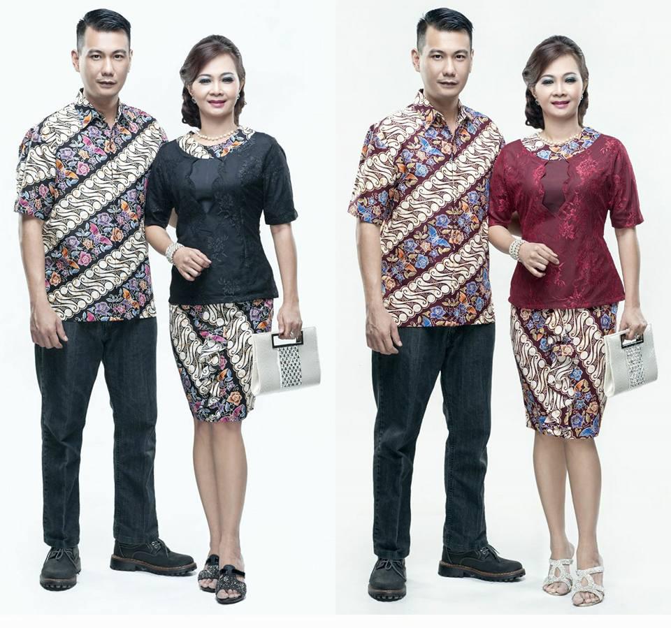 Toko Batik Online Terpercaya Model Baju Batik Couple Lengan Pendek Kombinasi  Broklat Call Order Whatsapp ( 6f36dc0688