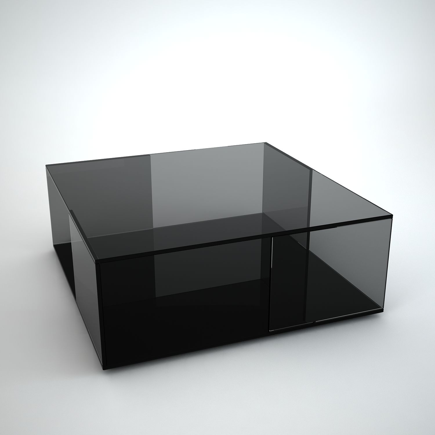 Square black glass coffee table - Tifino Square Grey Tint Glass Coffee Table By Klarity
