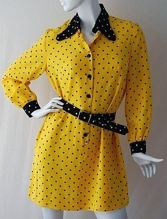Mary Quant Robe Mini Chemisier Jaune Et Noir A Pois Annees 70 Mode Britannique Chemisier Jaune Mode