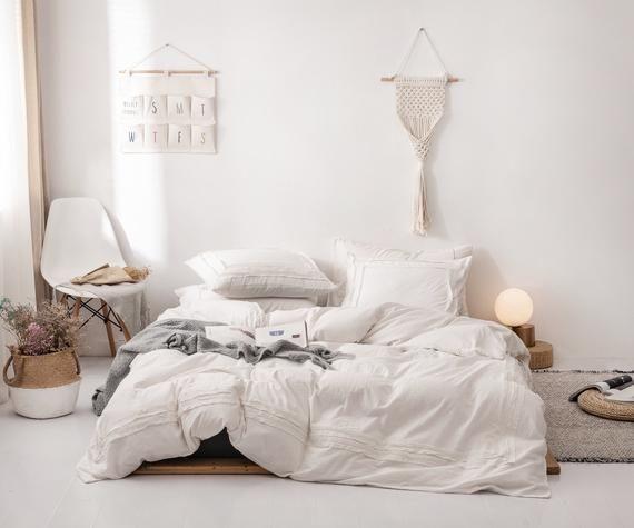 Photo of Fashion Duvet Cover Set 100% Cotton Soft Bedding Set Pure Color Simple Bed Set Cotton Duvet Cover Set Twin Queen King Bed Decor, White