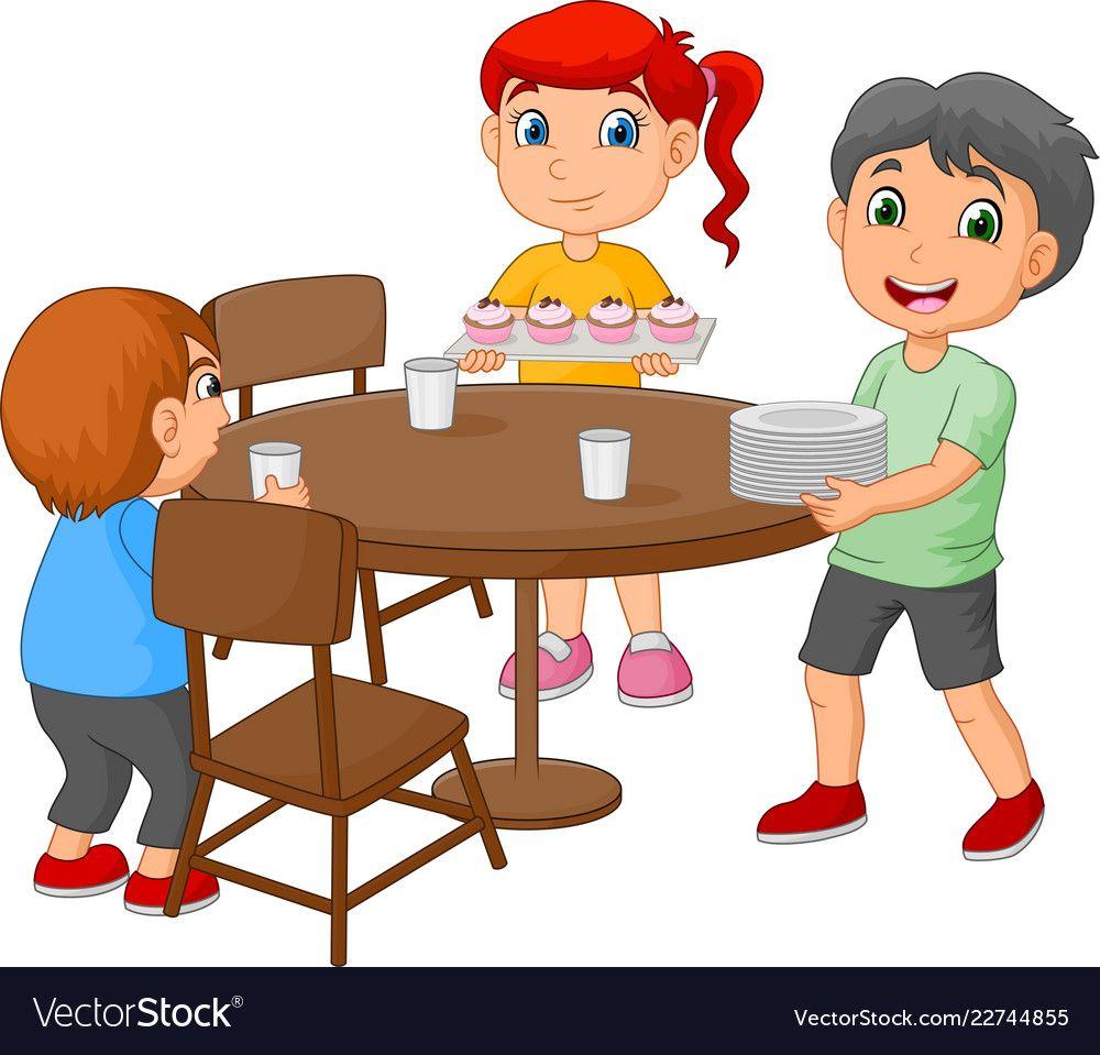 Cartoon Kids Setting The Dining Table By Placing G Vector Image On Dibujo De Ninos Jugando Dibujos Para Ninos Actividades Para Ninos