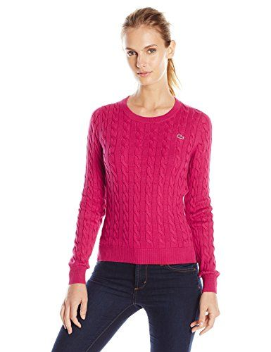 095693721903 Lacoste Women s Long Sleeve Cable Knit Cotton Sweater