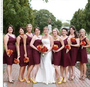 Fall Wedding Bouquets With Wine Colored Bridesmaid Dress Google