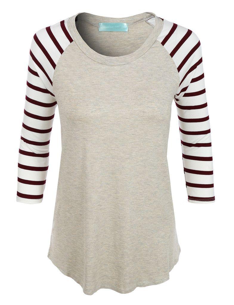 79b4fe09694e8 LE3NO Womens Loose Round Neck Striped Raglan Sleeve Baseball T Shirt