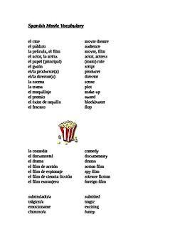 Spanish Partner Activity Movies Vocabulario Para El Cine Describe A Movie Guess The Movie Vocabulary