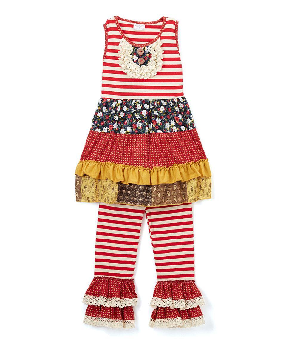 This black u red stripe ruffle dress u pants set toddler u girls