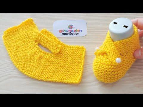 Very easy newborn baby knitting booties socks pattern