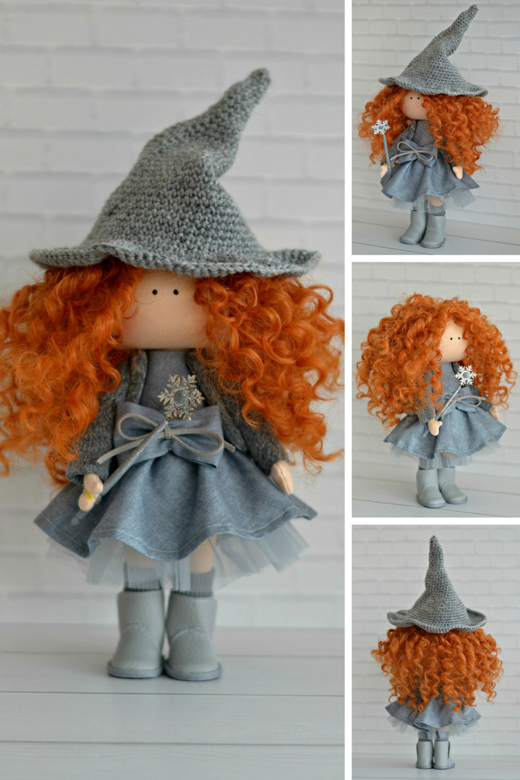 Witch Magic Doll Fairy Enchantress Doll Sorceress Sybil Doll Nursery Baby Doll Handmade Gray Doll Decor Textile Doll Tilda Soft Doll Maria K #dollcare