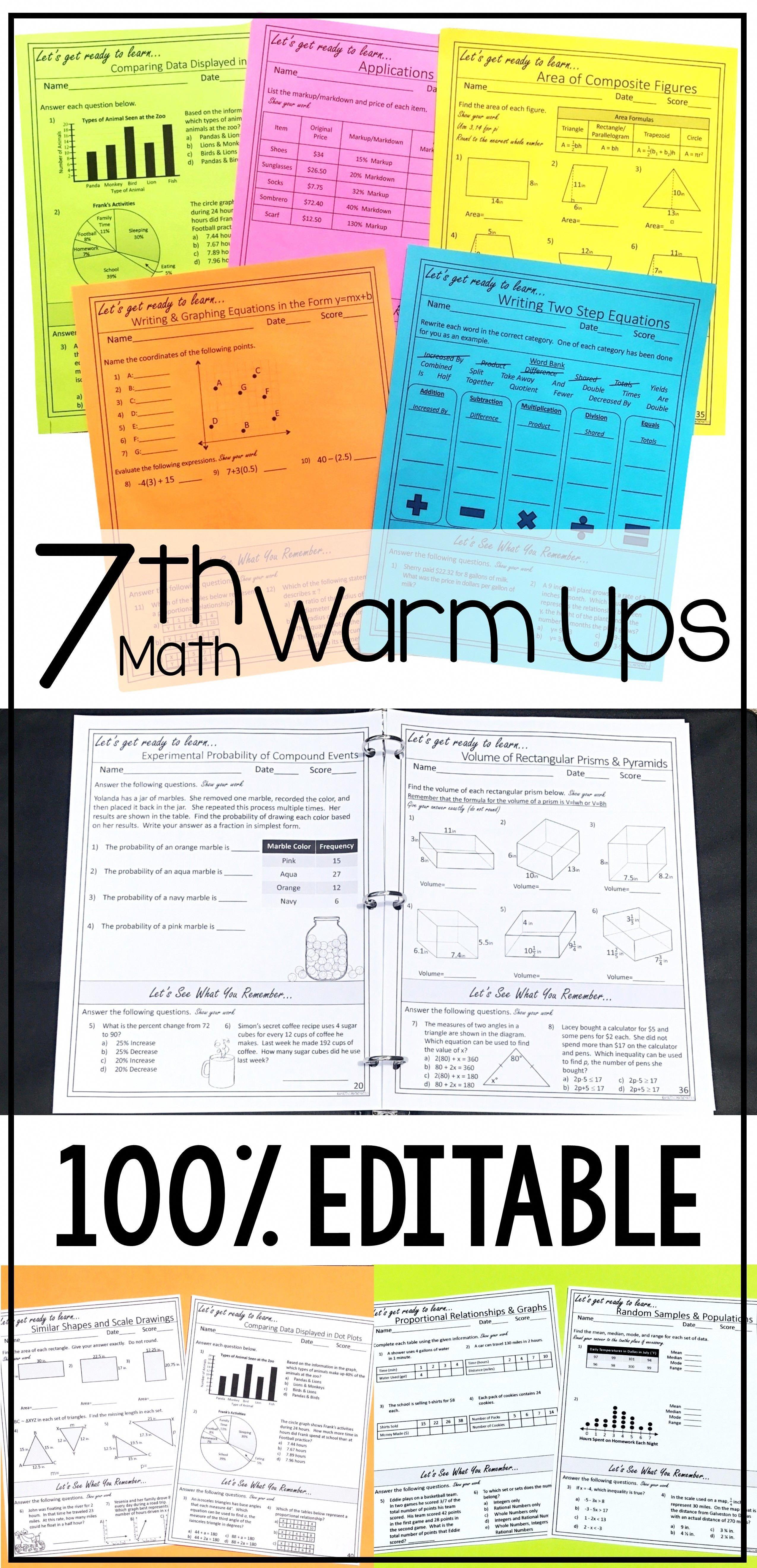 7th Grade Math Warm Ups