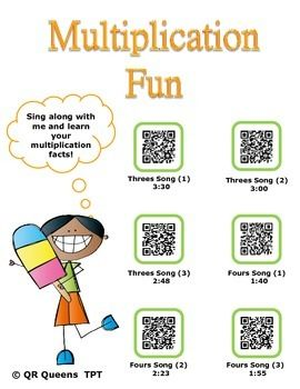 Perfect way for students to learn their multiplication facts!! 2nd-5th $ #BYOT #BYOD #technology #earlyfinishers #centers #stations #listeningcenters #mathcenters #links #QRQueens