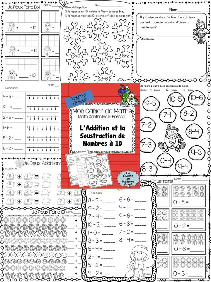Hiver Math Printables In French Addition And Subtraction Within 10 Addition And Subtraction Math Printables Math Addition