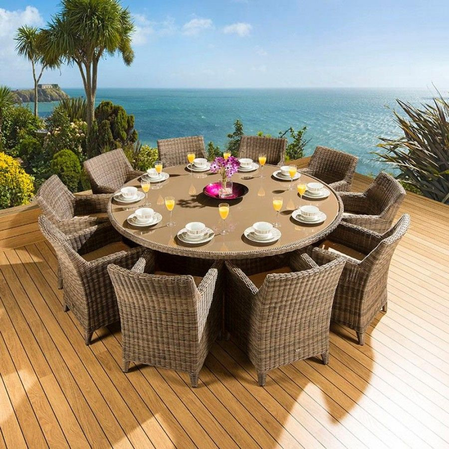 Rattan Garden Dining Set Round Table + 10 Large Carver Chairs Mocha ...