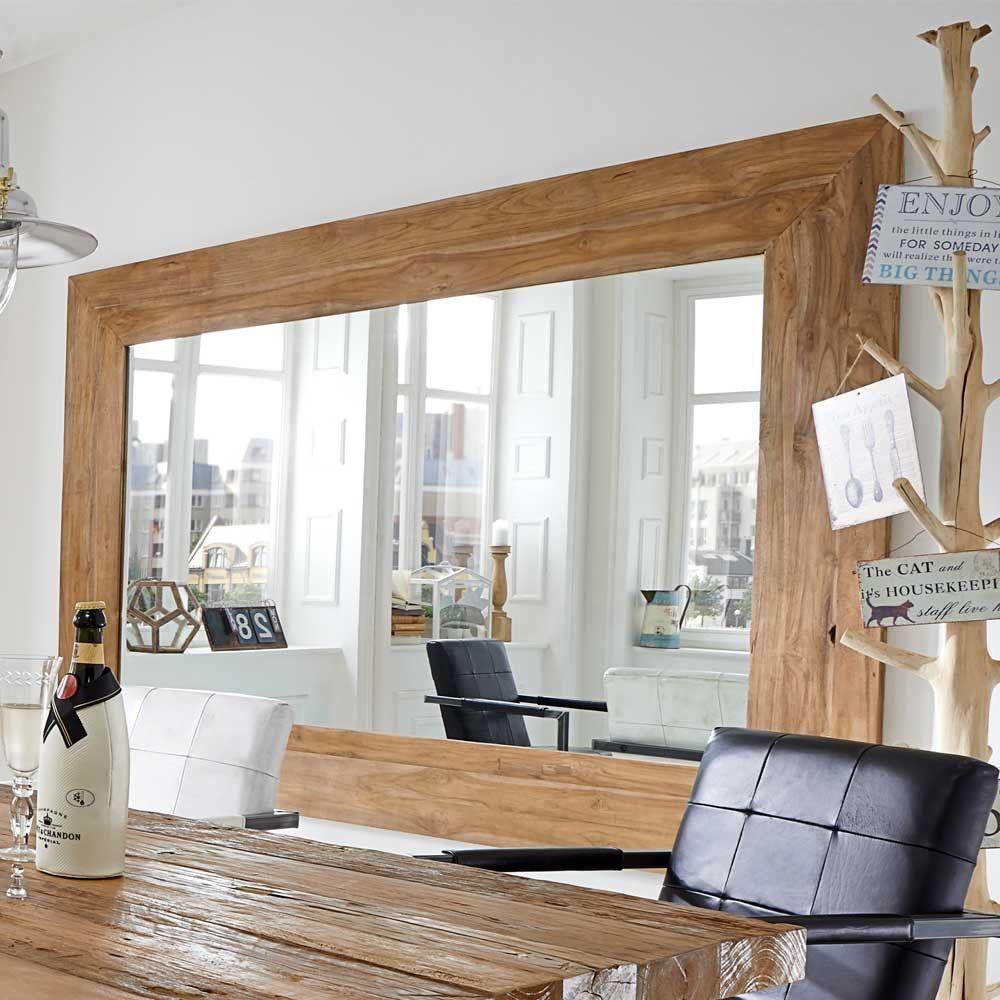 Esszimmer Spiegel mit Teakholzrahmen  Wohnzimmer ideen