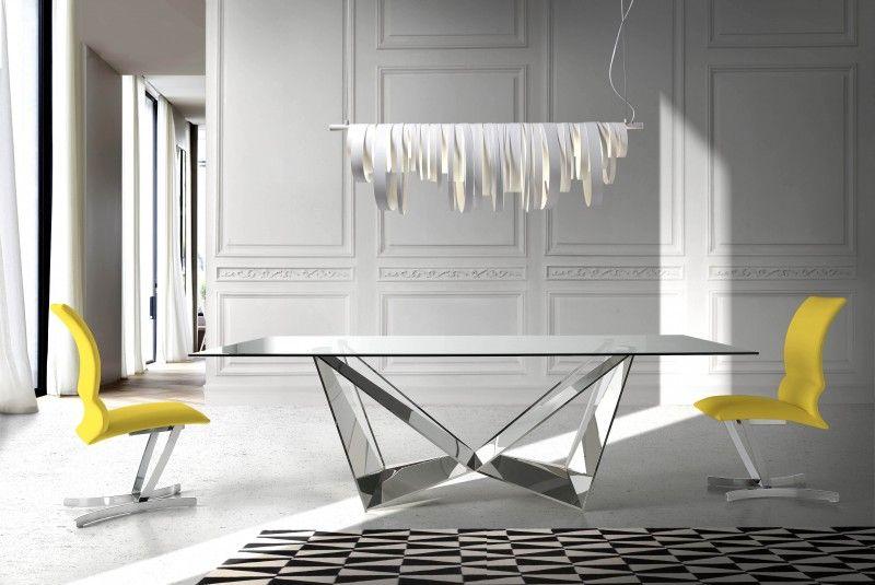 Table Rectangulaire Design Acier Chrome Et Verre Trempe Trypa 180