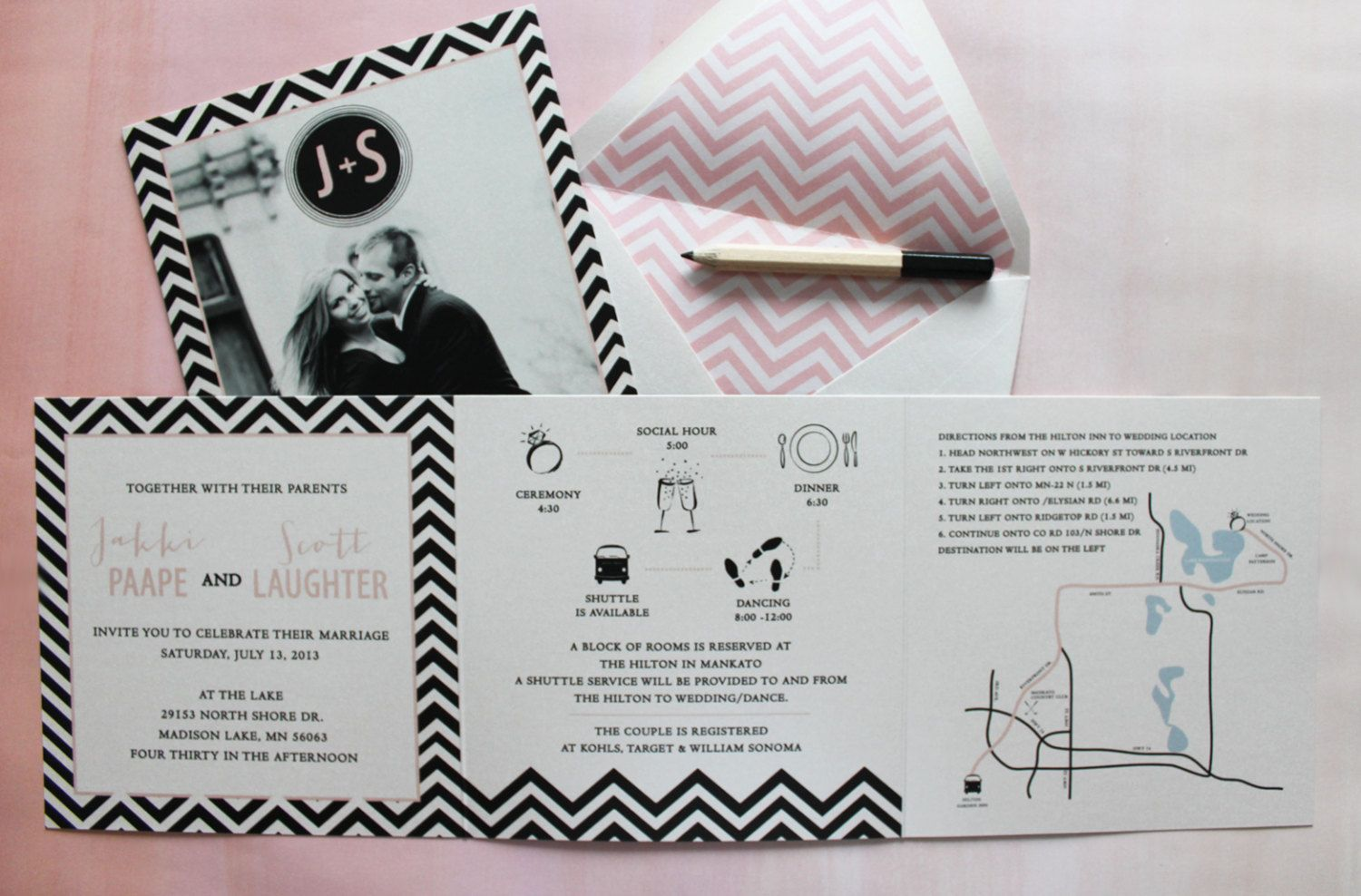 5x5 Bold and Blush Trifold Wedding Invitation by gingerpdesigns ...