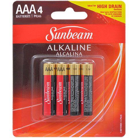 Bulk Sunbeam Alkaline Aaa Batteries 4 Ct Packs At Dollartree Com Batteries Aaa Batteries Aaa
