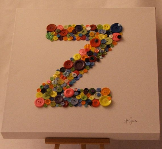 Personalised Button Initial on Canvas by janelouisesomers on Etsy, $31.70