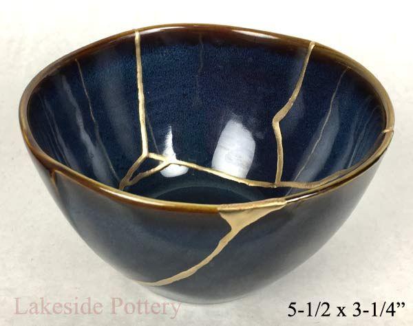 Kintsugi art blue bowl