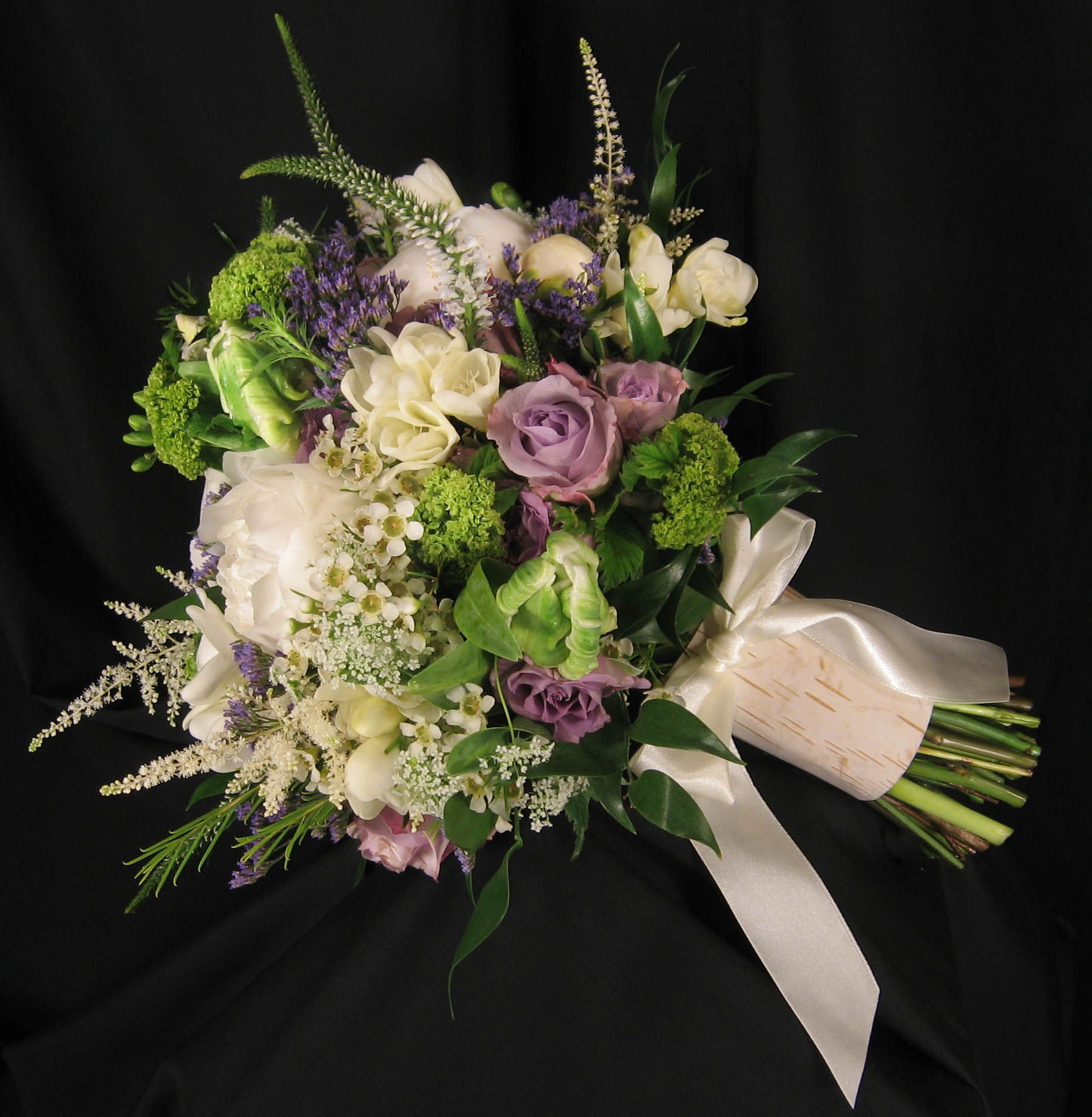 Lavender Flower Hair Wedding Style: Rustic Inspired Bridal Bouquet Featuring White Peonies