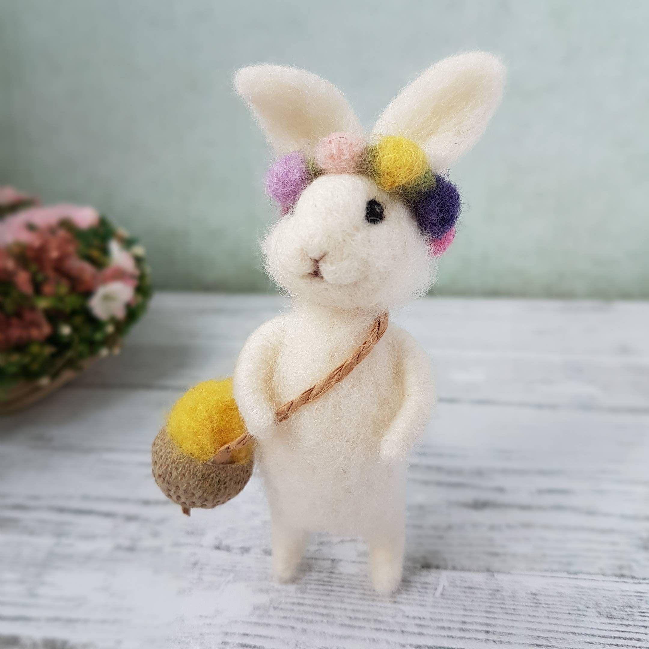 Felted bunny Easter bunny Needle felted animal Needle | Etsy