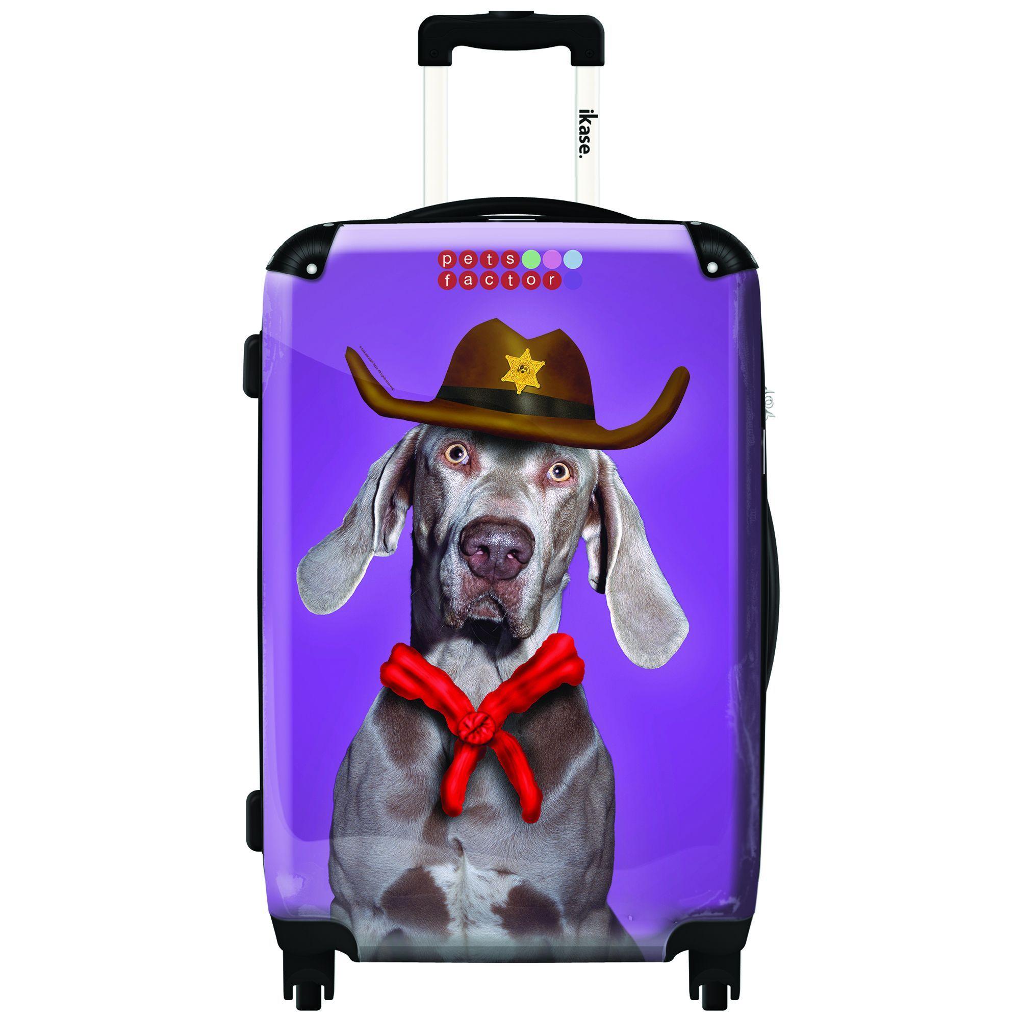 Ikase Hardside Spinner Luggage Dog with cowboy hat