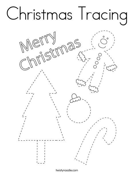Christmas Tracing Coloring Page - Twisty Noodle | Coloring ...