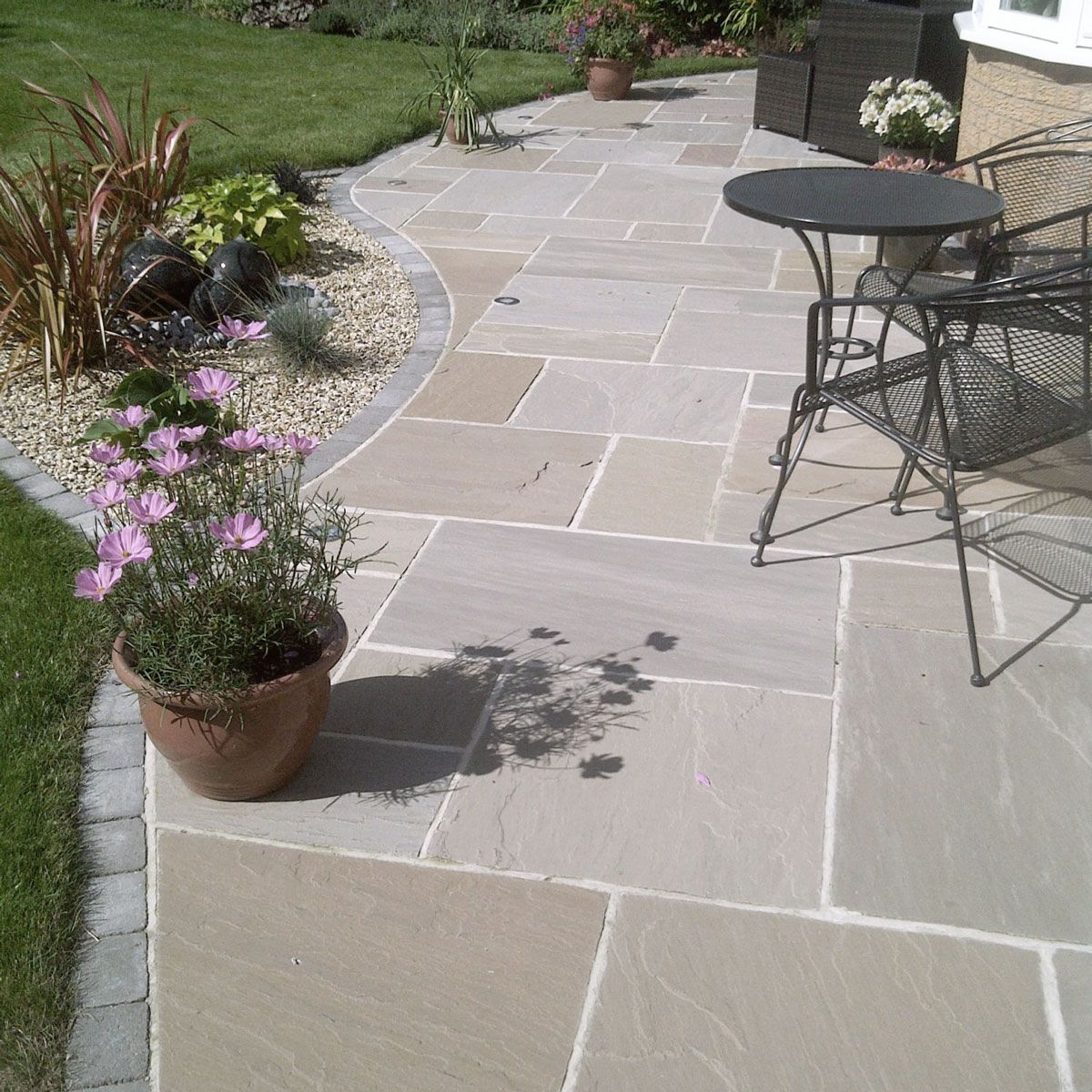 Patio Ideas With Existing Concrete Slab: Riven Sandstone Raj Blend