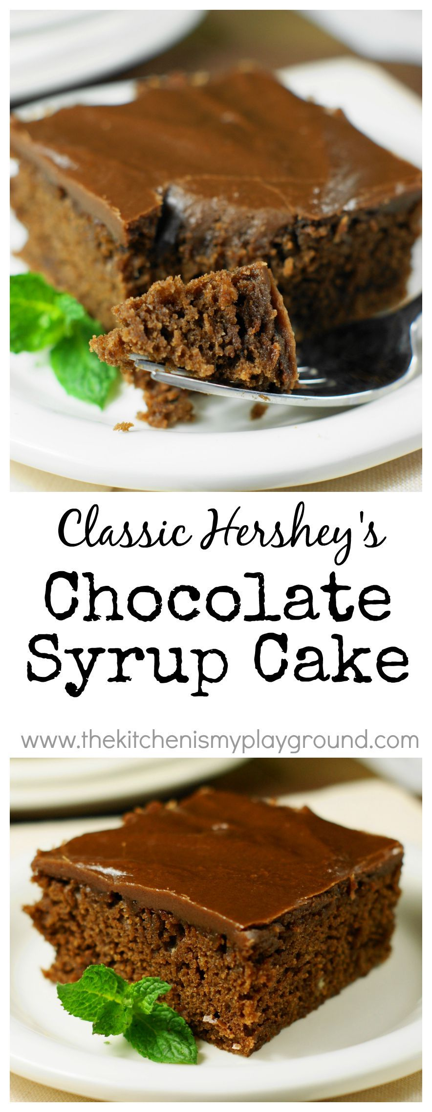 Classic hersheys chocolate syrup cake topped with rich