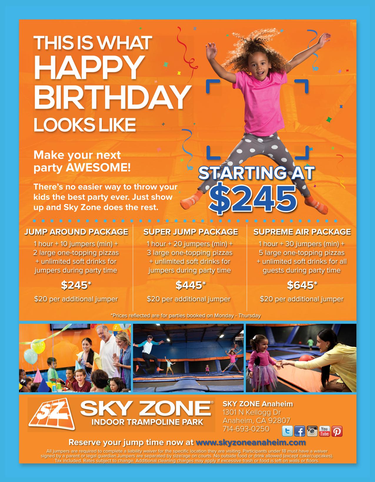 Sky Zone Trampoline Park Anaheim Birthday Parties Sky