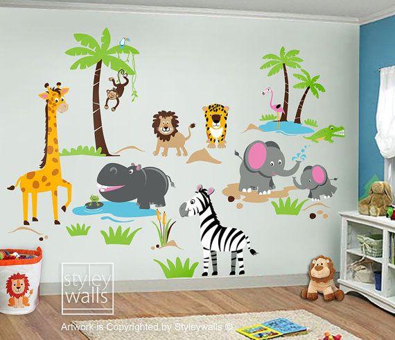 Lions.. Elephant Safari Animal Set: Monkey Giraffe - Wall Decal Sticker