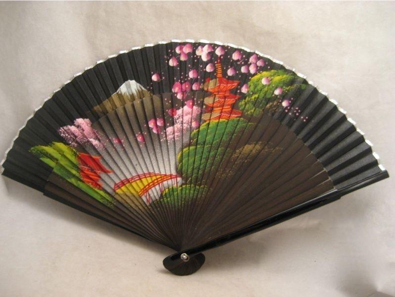 indian hand fan clipart. vintage oriental scene scenic painted hand fan indian clipart d