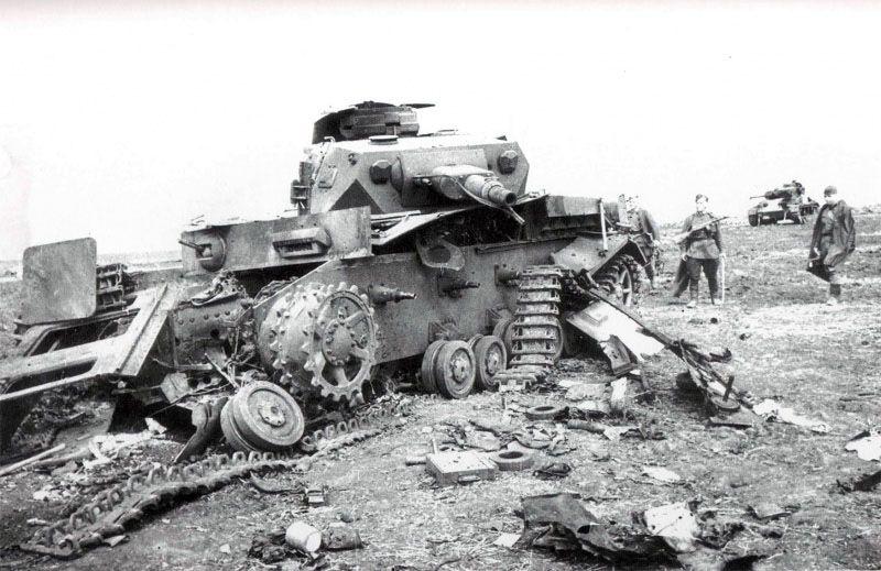 Artillerymen Frtom Soviet 6th Tank Brigade Inspect Wrecked