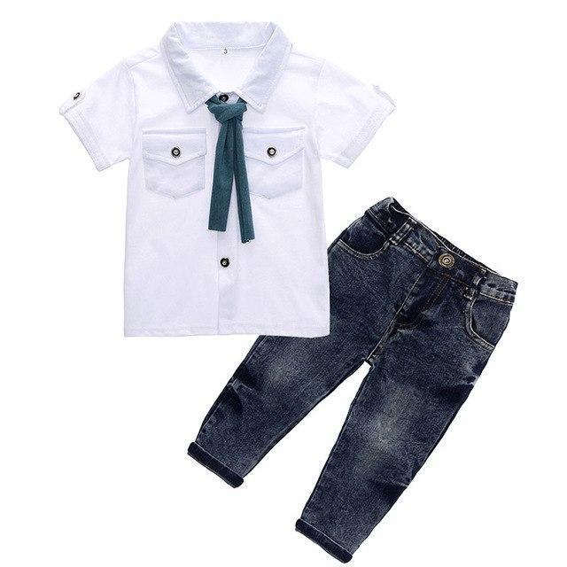 dad27304119 Designer Duo with Denim Jeans   Pocket Dress Shirt with Bow-knot Tie ...