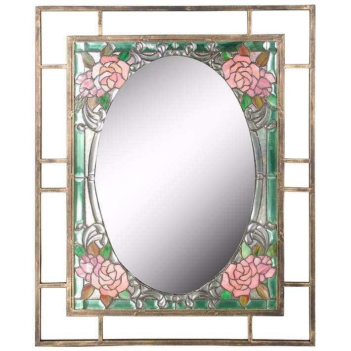 Dale Tiffany Jules 36 High Art Glass Wall Mirror X2687 Lamps Plus Glass Wall Art Framed Mirror Wall Mirror Wall