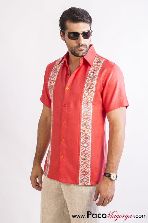 Camicia San in lino di ricamato Andres corallo Larrainzar 0vN8wymnO