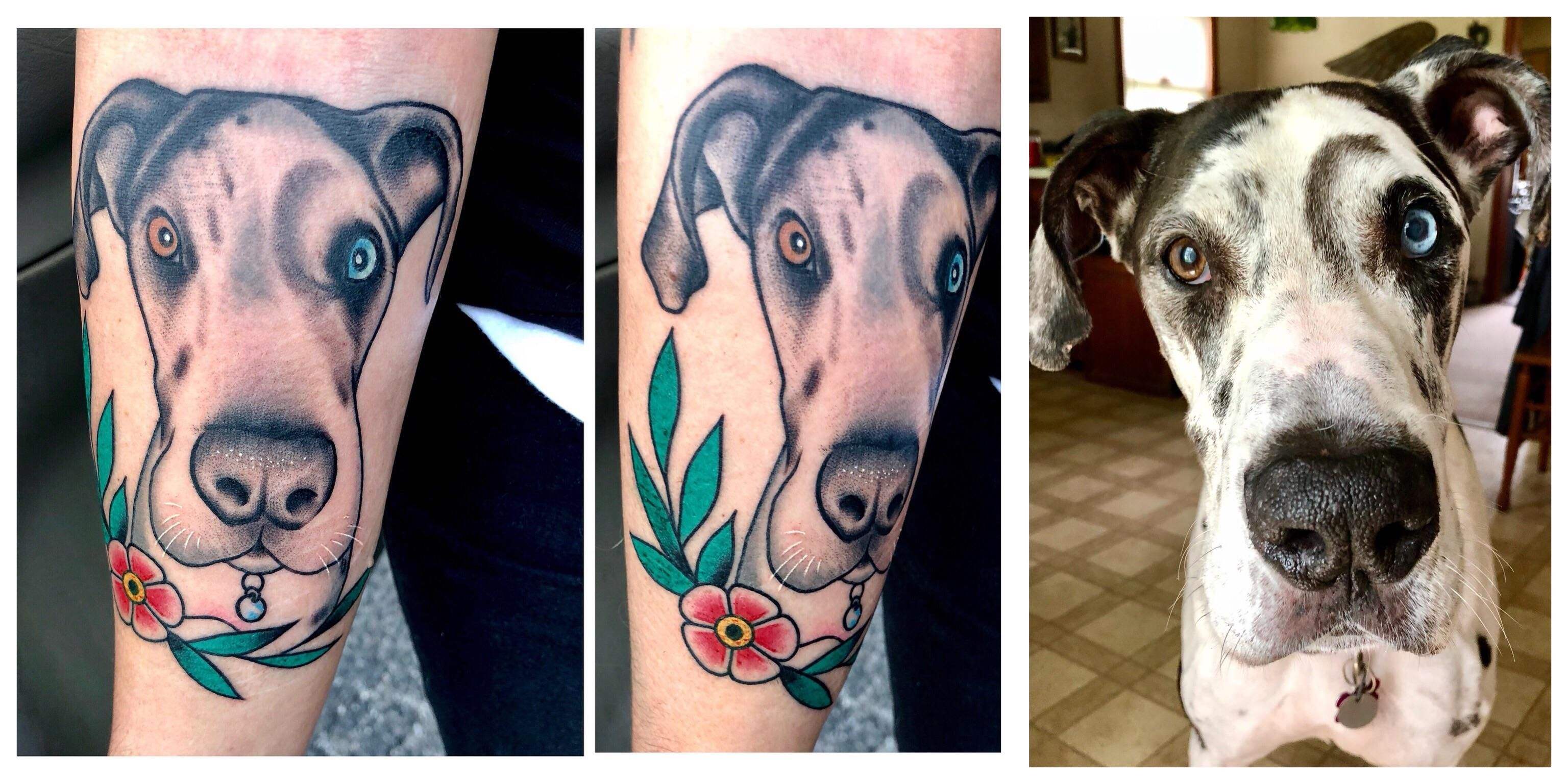 Tattoo Of My 9 5 Year Old Great Dane Done Today By Albert Merillat